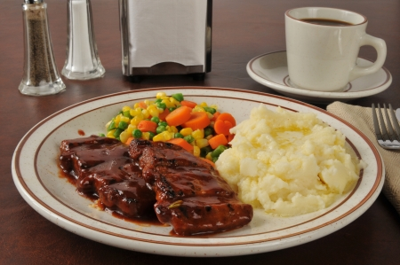 barbecued: Boneless barbecued pork with buttered mashed potatoes