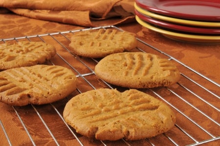 biscuits: Fresh baked peanut butter cookies cooling on a wire rack Stock Photo