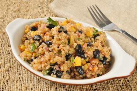 A healthy salad with black beans and quinoa