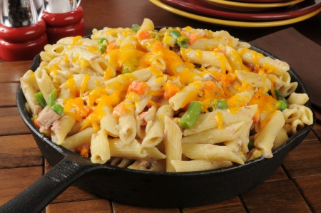 tunafish: Tunafish casserole made with penne rigate noodles Stock Photo