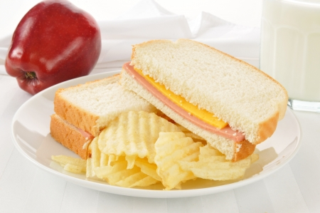 bologna baloney: A bologna and cheese sandwich with potato chips, an apple and a glass of milk Stock Photo