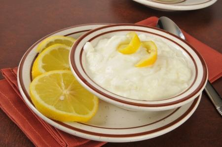 Greek yogurt with lemon in a small serving bowl