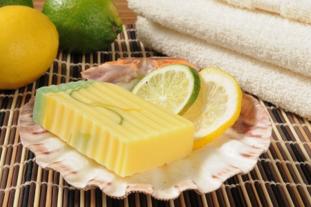 glycerin soap: Artisan glycerin soap infused with lemon and lime