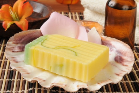 glycerin soap: Handmade glycerin soap with essential oils in a spa setting Stock Photo
