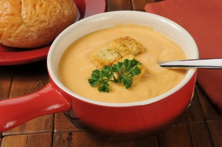 sherry: A bowl of lobster bisque with sherry topped with croutons
