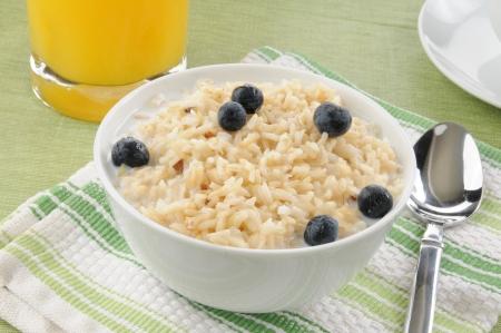 유기농 현미와 우유와 블루 베리 한 그릇
