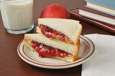 A peanut butter and jelly sandwich with an apple, a glass of milk and school books photo