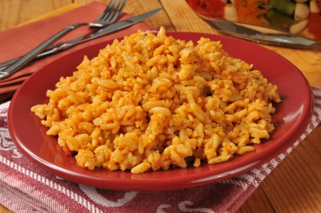 A plate of spicy mexican rice  Stockfoto