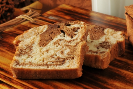 Sliced cinnamon swirl bread with milk