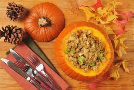 cornbread: Cornbread or herbal stuffing in a pumpkin from above