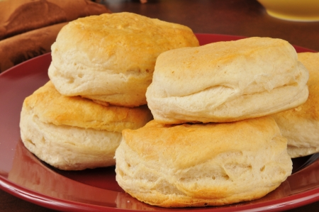 flaky: Fresh baked buttermilk biscuits on a plate Stock Photo