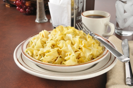 buttered: A bowl of buttered noodles with parsley