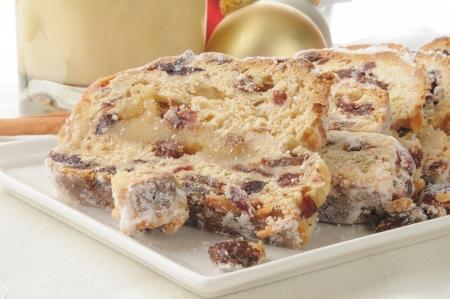 fruitcake: Stollen, a German Christmas fruitcake, with almonds and raisins