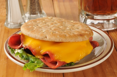bologna baloney: A fried bologna sandwich with root beer on thin round sandwich bread