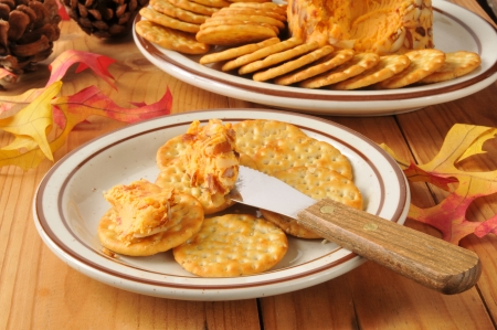 slivers: Holiday cheeseball with almond slivers and crackers Stock Photo