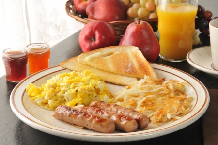browns: Link sausage with scrambled eggs, hash browns and toast