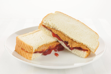 jam sandwich: A peanut butter and jelly sandwich on a high key setting