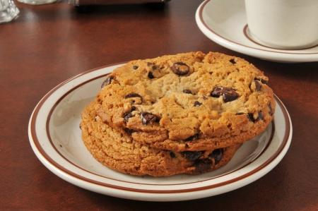 Een plaat van dikke, gastronomische chocoladekoekjes Stockfoto