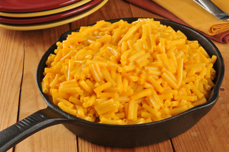 chese: Macaroni and cheese in a cast iron skillet