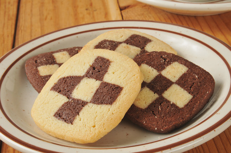 checker plate: Closeup of a plate of shortbread cookies with a checker board pattern