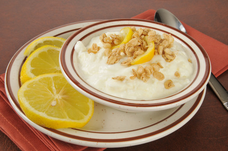 Healthy Greek yogurt with lemon slices