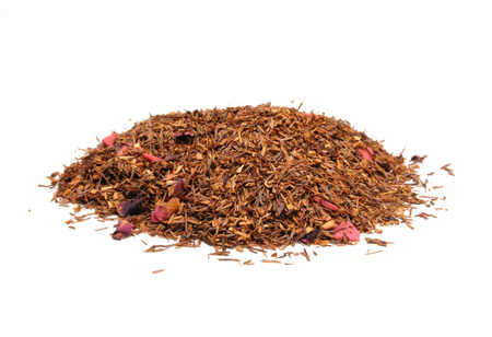 rooibos tea: A mound of rooibos tea infused with strawberry flavor