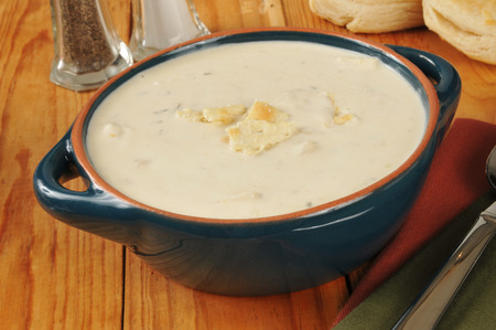 chowder: A bowl of clam chowder with buttermilk biscuits