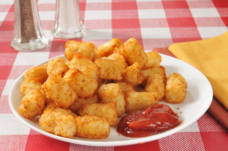 catsup: A plate of deep fried tater tots with catsup