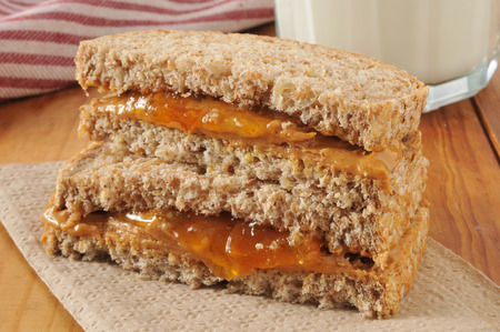 jam sandwich: Peanut butter and jam sandwich on organic whole grain bread