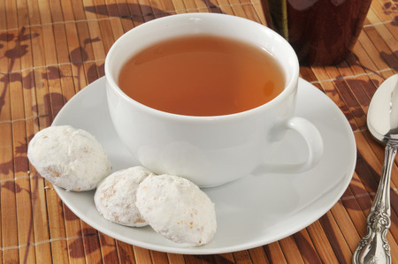 teacake: A cup of tea with Russian teacake cookies
