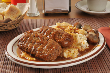 Meatloaf with mashed potatoes and sauteed mushrooms