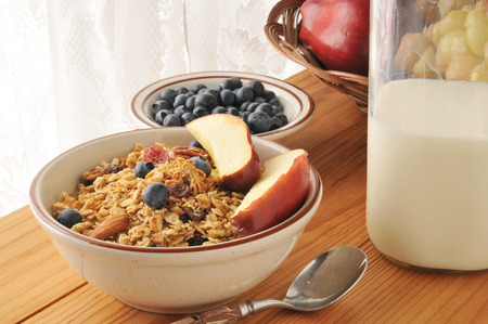 bruit: Organic granola with nuts, blueberries and fresh apple slices Stock Photo