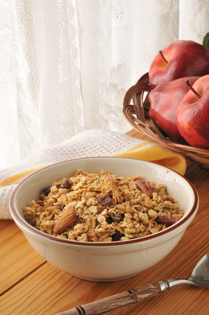 bruit: A bowl of organic granola with almonds, walnuts and raisins
