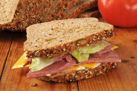 home cooked: Home cooked roast beef sandwich on sprouted nut and seed bread Stock Photo