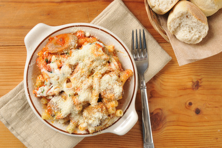 rigatoni with marinara sauce, Italian sausage, meatballs and mozzarella cheese. photo