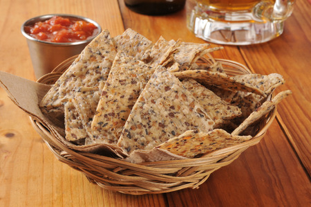 chips and salsa: Healthy tortilla chips made of rice and beans with salsa