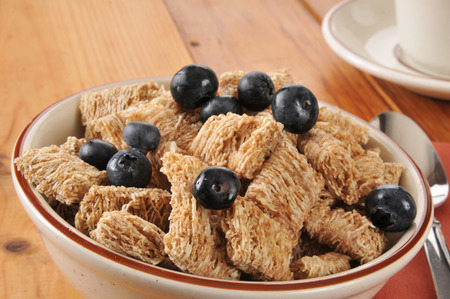 Mini biscuits of wheat cereal with fresh blueberries