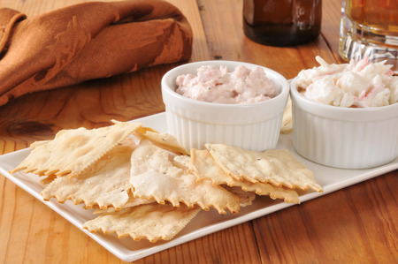 Gourmet flatbread crackers with crab and ham spreads