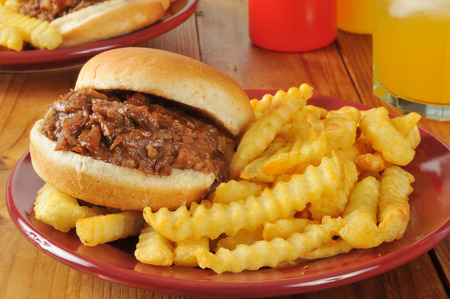 seltzer: A barbecue beef sandwich with french fries and an orange spritzer