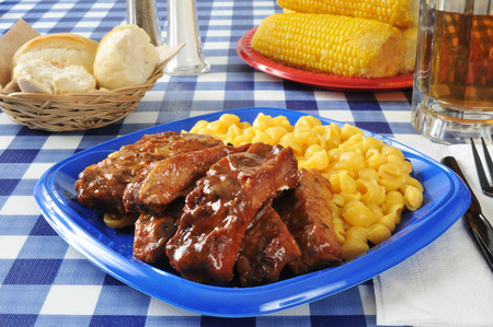 Barbecued ribs with macaroni and cheese on a picnic table