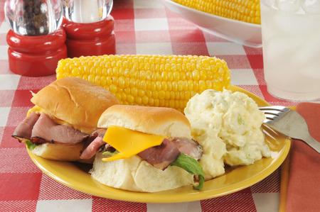 seltzer: Roast beef sliders with potato salad and corn on the cob