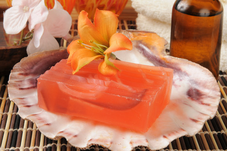 glycerin soap: A bar of glycerine soap in a spa setting Stock Photo