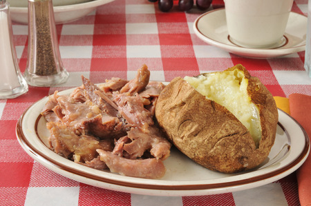 leftover: A plate of leftover turkey with a baked potato and butter