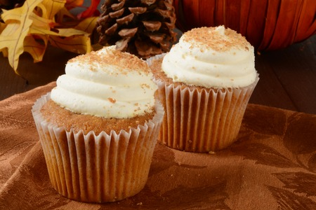 dynia: Gourmet pumpkin cupcakes, a holiday snack, with a pumpkin and pine cones on a table Zdjęcie Seryjne