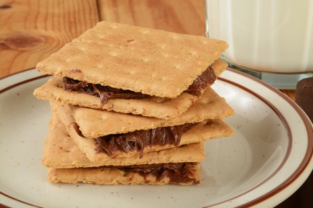 graham: Graham crackers with chocolate frosting and a glass of milk Stock Photo