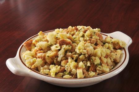 stuffing: A bowl of cornbread stuffing in turkey broth