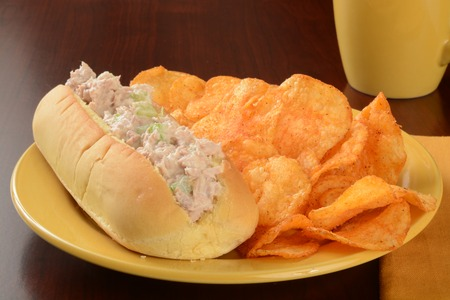 tunafish: A tunafish sandwich with cheddar cheese potato chips Stock Photo