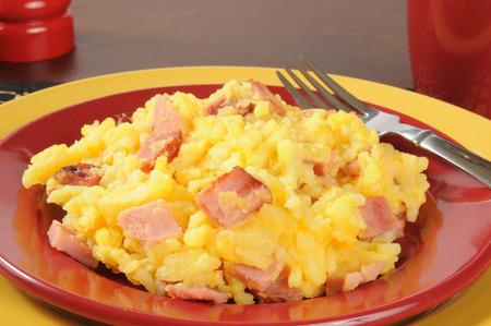 Closeup of a plate of ham and au gratin potatoes photo