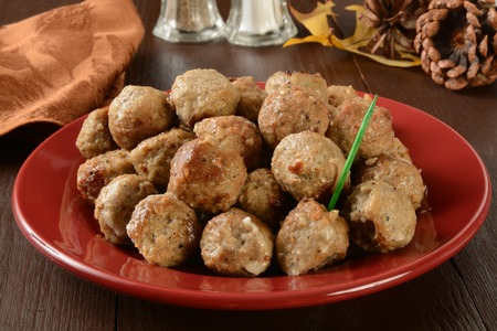 Swedish meatballs as an appetizer on a holiday table