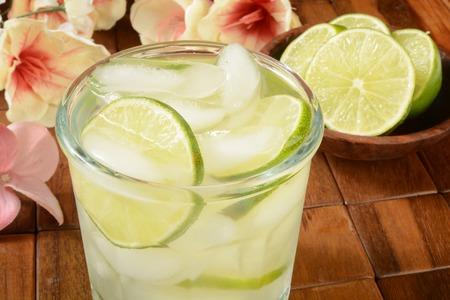A gimlet or vodka lime on a tropical bar setting